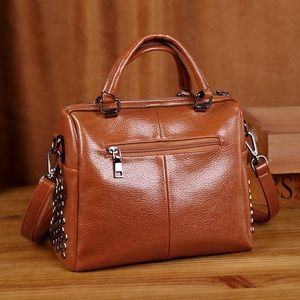 Brown and black women's leather crossbody bags